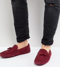 Бордовые замшевые мокасины для широкой стопы с кисточками ASOS - Красный
