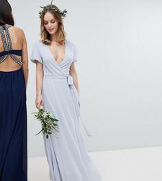 Платье макси с запахом, поясом и пышными рукавами TFNC Petite - Серый