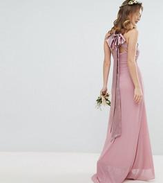 Плиссированное платье макси TFNC Petite - Розовый