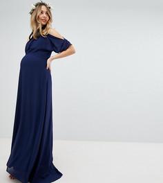 Платье макси с высоким воротом TFNC Maternity - Темно-синий