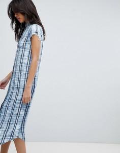 Платье-рубашка в клетку Replay - Синий