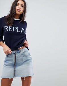 Вязаный джемпер с логотипом Replay - Темно-синий