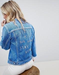 Джинсовая куртка без воротника с необработанными краями и вышивкой Replay - Синий