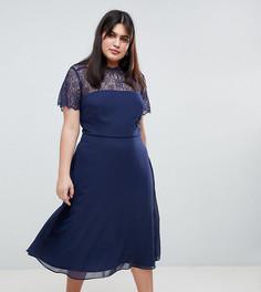Кружевное платье миди ASOS DESIGN Curve - Темно-синий