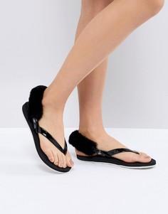 Черные сандалии со съемным искусственным мехом UGG LaaLaa - Черный