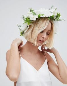 Повязка на голову с цветочным принтом ASOS BRIDAL - Белый