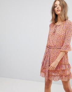 Платье с цветочным принтом и оборкой на подоле Vero Moda - Мульти