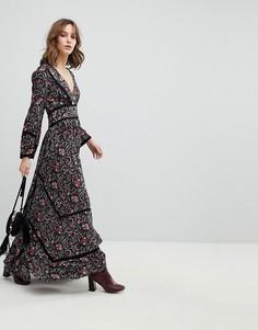 Свободное платье макси с цветочным принтом BA&SH - Черный Ba&Sh