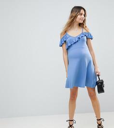 Платье с открытыми плечами и оборками ASOS MATERNITY - Синий