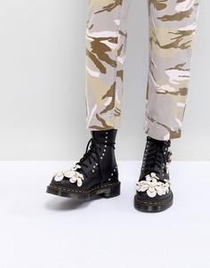 Ботинки на шнуровке с 3D-цветами Dr Martens - Черный