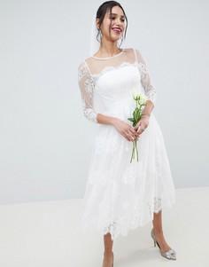 Кружевное платье миди с длинными рукавами ASOS EDITION Wedding - Белый
