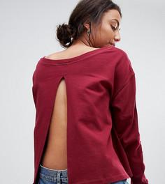 Свободный свитшот с широким вырезом и разрезом на спине ASOS TALL - Красный