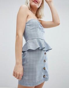 Мини-юбка в клетку Принц Уэльский с пуговицами Emory Park - Синий