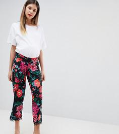 Трикотажные брюки с посадкой под животом, кружевной отделкой и цветочным принтом ASOS DESIGN Maternity - Мульти