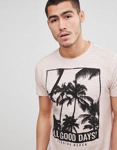 Меланжевая футболка с пальмовым принтом Solid - Розовый