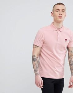 Розовое поло с вышивкой розы River Island - Розовый