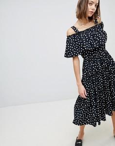 Платье макси в горошек с вырезами на плечах Vero Moda - Мульти