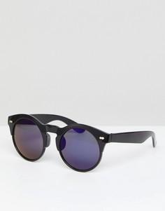 Круглые солнцезащитные очки с голубыми стеклами Selected - Черный