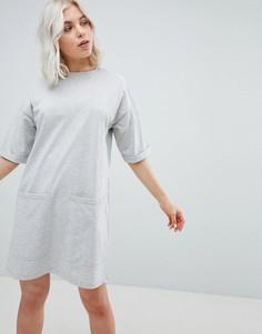 Платье-футболка бойфренда с карманами ASOS DESIGN - Серый