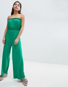 Трикотажный комбинезон-бандо с широкими штанинами ASOS DESIGN - Зеленый