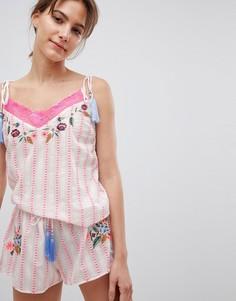 Пижама с вышивкой кружевной отделкой River Island - Розовый