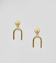 Позолоченные серебряные серьги-подвески ASOS DESIGN - Золотой