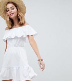 Легкое платье с ярусной юбкой ASOS DESIGN Petite - Белый