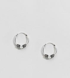 Серебряные серьги-кольца с гравировкой и шариками ASOS DESIGN - Серебряный