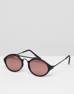 Черно-розовые круглые черные солнцезащитные очки Reclaimed Vintage Inspired эксклюзивно для ASOS - Черный
