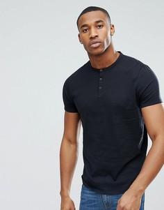 Черная футболка с воротом на пуговице ASOS DESIGN - Черный