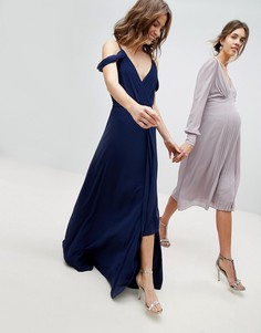 Платье макси с открытыми плечами и запахом TFNC - Темно-синий