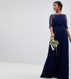 Платье макси с плиссировкой TFNC Petite - Темно-синий