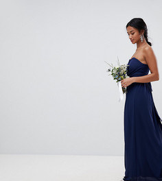 Платье макси с лифом-бандо TFNC Petite - Темно-синий