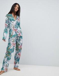 Пижамный комплект из 100% модала с рубашкой и широкими штанами ASOS DESIGN - Мульти