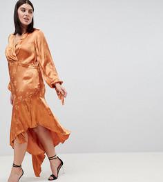 Жаккардовое платье миди с цветочной вышивкой и асимметричным краем ASOS DESIGN Curve - Оранжевый