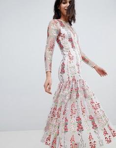 Платье макси с заниженной талией и цветочной вышивкой ASOS EDITION - Мульти