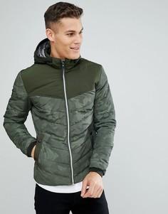 Дутая куртка с камуфляжным принтом Tom Tailor - Зеленый