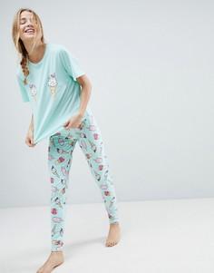 Пижамные футболка и леггинсы с принтом мороженого ASOS - Мульти