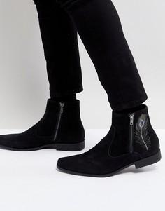 Черные ботинки челси из искусственной замши с вышивкой ASOS - Черный
