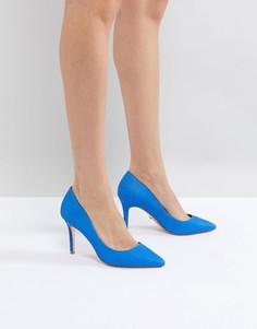 Ярко-синие кожаные туфли-лодочки с острым носком Dune - Синий