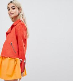 Укороченнная куртка-тренч из искусственной замши River Island Petite - Оранжевый