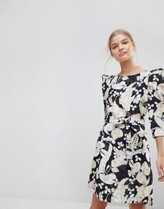 Платье мини с цветочным принтом Max&Co - Черный