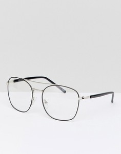 Серебристые очки-авиаторы с прозрачными стеклами Jeepers Peepers - Серебряный