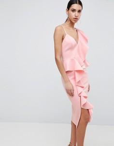 Платье миди с асимметричными оборками ASOS DESIGN - Розовый