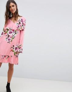 Мягкое платье миди с цветочным принтом и оборками Vila - Розовый