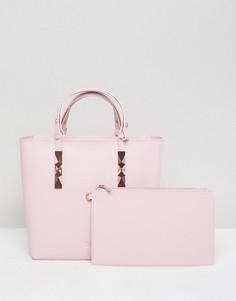 Кожаная сумка-тоут с регулируемыми ручками Ted Baker - Розовый