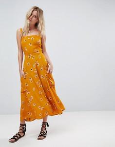 Платье миди с карманами и цветочным принтом Faithfull - Оранжевый