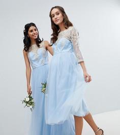 Платье миди с кружевным топом и юбкой из тюля Chi Chi London Maternity - Синий