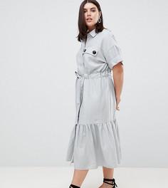 Платье-рубашка макси с поясом и оборкой по краю ASOS DESIGN Curve - Синий