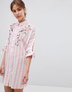 Пижамное платье-рубашка в стиле оversize с вышивкой River Island - Розовый